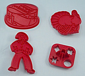 4 - Figural, Occasion Cookie Cutters, Red Plastic / Tupperware