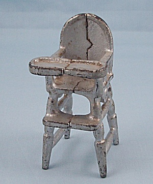 Kilgore Mfg. Co. - Cast Iron - Dollhouse Furniture- High Chair - Silver
