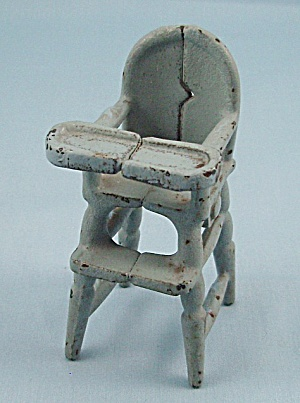 Kilgore Mfg. Co. - Cast Iron - Dollhouse Furniture- High Chair - Light Blue