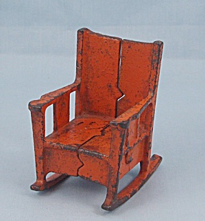 Kilgore, Cast Iron, Dollhouse Furniture, Orange Rocking Chair