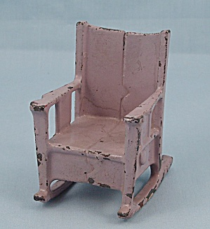 Kilgore, Cast Iron, Dollhouse Furniture, Lavender Rocking Chair