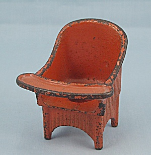 "Kilgore Toy - Cast Iron ""sally Ann"" Nursery Chair - Orange"