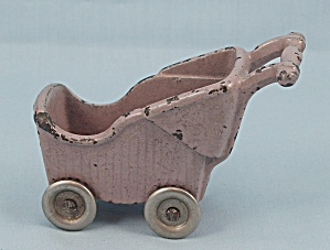 Kilgore Toy- Baby Carriage - Lavender - Cast Iron - Dollhouse Miniature