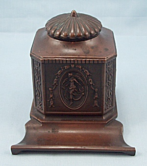 Art Nouveau, Jennings Brothers, Bronze Finish Inkwell, Circa 1910