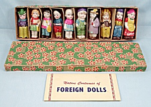 Bisque Doll Set - Native Costumes Of Foreign Dolls - Original Box & Information Sheet
