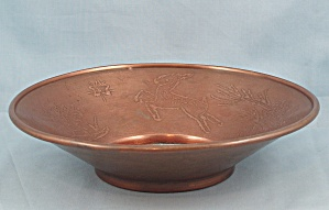 Decorative Copper Bowl - Leaping Deer On Rim