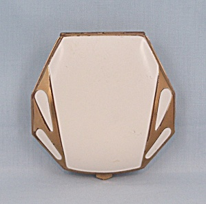 White Enameled Compact - Gold Trim