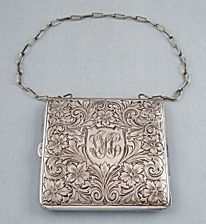German Silver Case- Coins, Calling Cards, Cigarettes - Wristlet