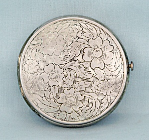 Floral, Round, Silver-toned Compact