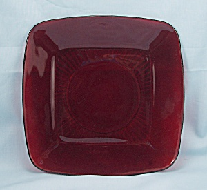 "Royal Ruby Glass ""charm"" Plate, Anchor Hocking"