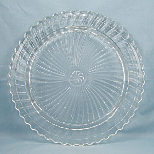 Footed, Roman Rosette, Swirl, Crystal Cake Plate