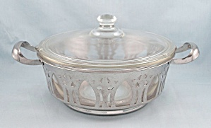 Glasbake 206, 216 Casserole Dish, Lid And Cradle