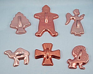 6 - Coppertone Aluminum Cookie Cutters, Figural