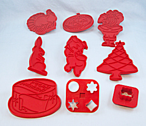 7 - Tupperware - Red Figural Cookie Cutters - Holiday / Occasion