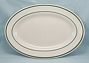 Lawrence Vitrified China Oval Platter - Green Lines