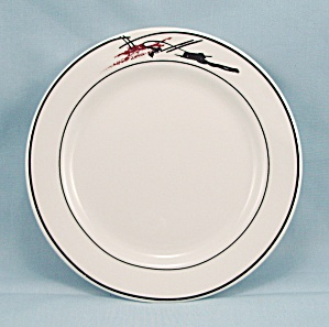 Hlc - Bread & Buter Plate - Black Lines, Coral Stroke