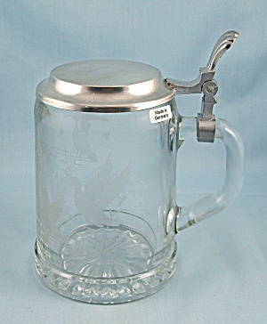 German Glass Stein - Pewter Handle - Etched Ducks