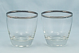 2 Libbey, Platinum Rim - On The Rocks, Tumblers