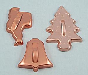 3- Coppertone Aluminum Cookie Cutters, Christmas