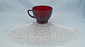 Anchor Hocking, Royal Ruby Cup - Fan Shaped Snack Plate