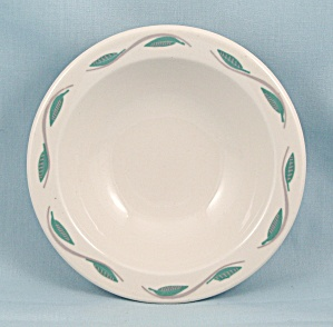 Hlc - Small Bowl - Turquoise & Gray Leaf Pattern