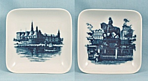 Two Royal Copenhagen, Denmark - Square Dishes, Equestrian & Castle