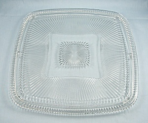 Clear Glass Square Cake Plate - 11 Inch