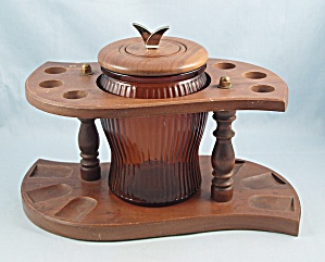 Six Slot Wooden Pipe Stand/ Rack & Duraglas Humidor