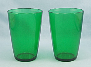 2 Anchor Hocking - Forest Green - 4 1/4 Inch, Flat Tumblers