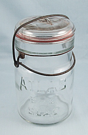 Atlas - E-z Seal - Pint Jar, Clear, Full Wire Bail, Glass Lid