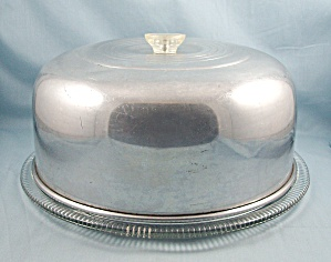 Large Aluminum Cake Cover / Glass Cake Plate, Footed