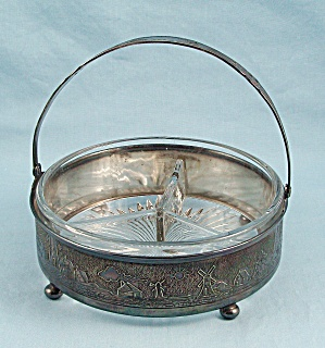 Middletown Silver Plate - 3 Part Dish - Basket/ Handle