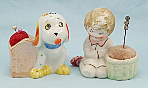 Two Figural Vintage Pin Cushions, Dog & Girl