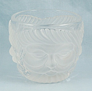 Mikasa Votive Candle Holder - Santa Face - Clear & Frosted Crystal