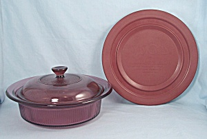 Cranberry Visions By Corning - V 31 B, 1 Quart Casserole, 2 Lids