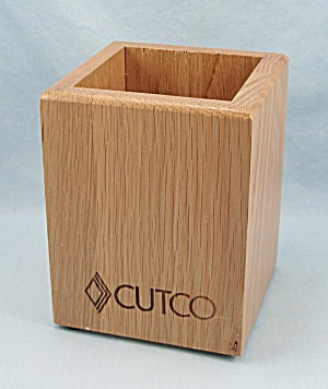 Cutco - Wooden Oak Cube, Utensil Holder
