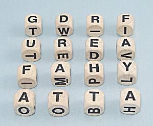 Boggle Game, Parker Brothers, 1980, 16 Replacement Letter Cubes
