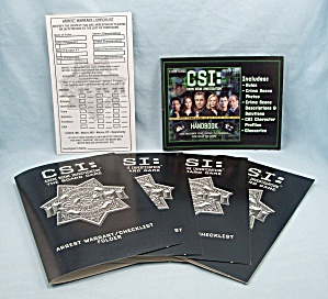 Csi: The Board Game, 2004, Replacement Handbook, 4 Arrest Warrants And Checklist Pad