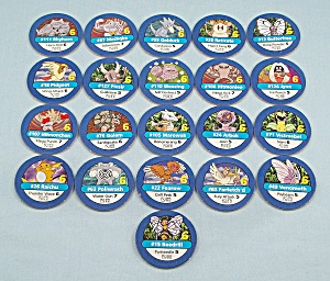Pokémon Master Trainer Game, Milton Bradley, 1999, 21 Replacement Blue #6 Chips
