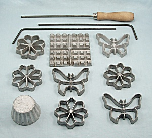 Waf-l-ette And Patty Shell Mold Set - 9 Irons, Three Handles