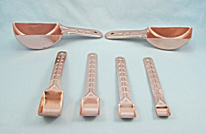 6 Vintage Tallscoops - Aluminum Colored Measuring Spoons/ Scoops