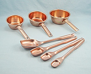 Copper Color Aluminum Long Handled Measuring Spoons / Cups