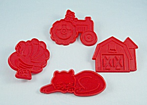 Four 1979 Chilton Cookie Cutters - Old Mcdonald Set - Barn, Tractor, Cat, Turkey