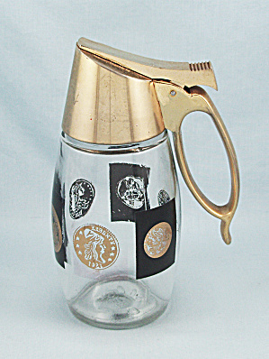 Westinghouse, Gemco, Syrup Dispenser Jar - Black And Gold Coins Pattern