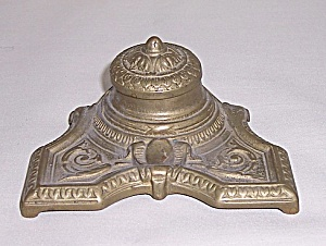 Cast Brass Classical Inkwell