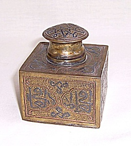 Cast Brass Enameled Inkwell