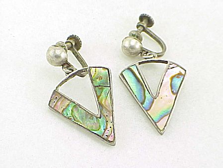 Vintage Signed Mexican Sterling Silver Abalone Screw Back Earrings