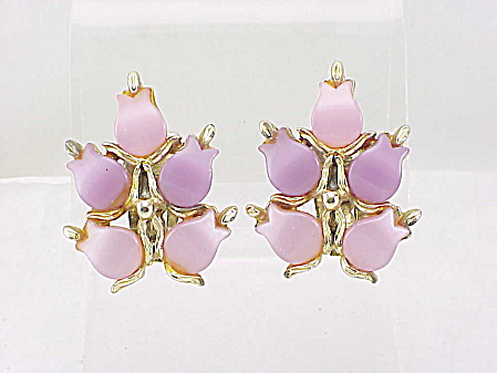 Vintage Pink And Lavender Lucite Thermoset Clip Earrings