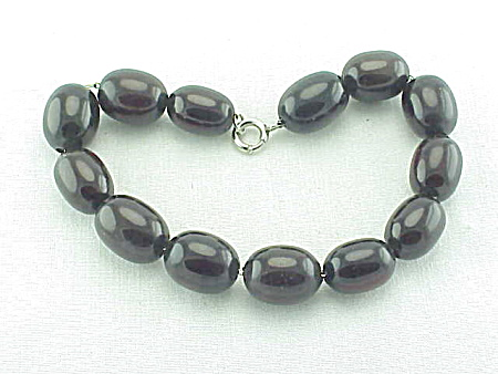 Antique Cherry Amber Beads On Sterling Silver Chain Link Bracelet