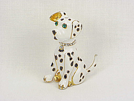 Black And White Enamel Dalmation Dog Brooch With Rhinestones